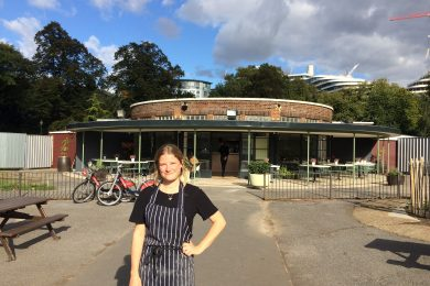 Chef Annabel Partridge outside the Pear Tree Cafe in Battersea Park, SW11